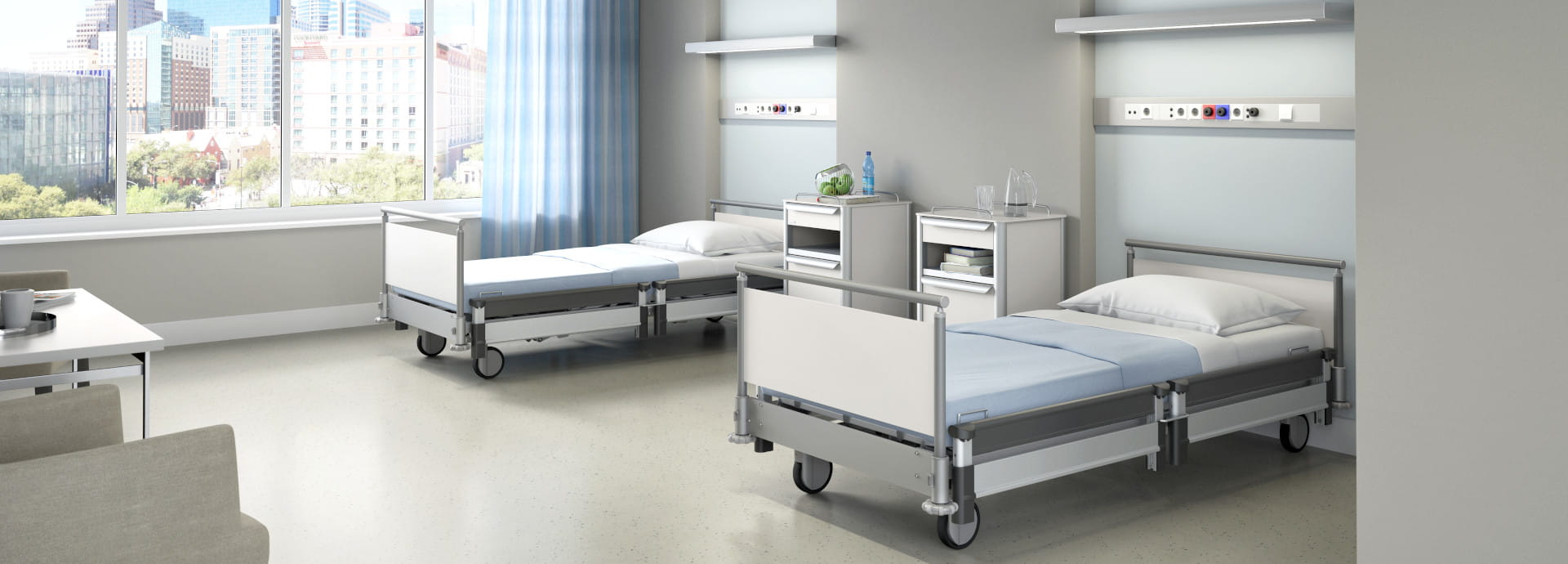 More than hospital bed: low height hospital bed + cozy design = hospitel